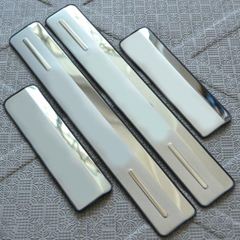 4 Uds de puerta lateral de acero inoxidable, placa de desgaste del umbral del alféizar para Mitsubishi Lancer EX 2008-2013, estilismo para automóviles
