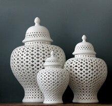 Pot de TEMPLE en porcelaine émaillée H38cm   Grand pot chinois de couleur blanche/pot de gingembre