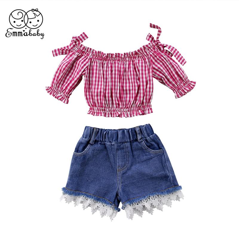 Pudcoco 1-6Y, conjuntos de Ropa para Niñas bebés, camisetas de cuadros rojos con hombros descubiertos, conjunto de ropa de encaje vaquero corto