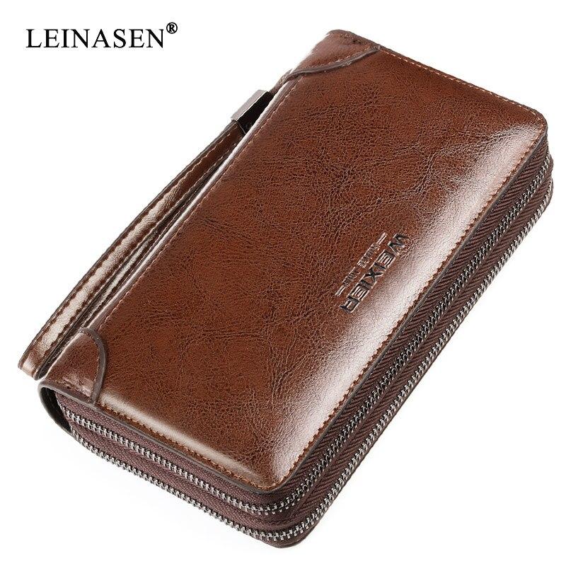 ¡Novedad! carteras de cuero genuino para hombre, bolsos de hombre, bolsos de mano koffer, billetera larga de cuero con bolsillo para monedas, monedero para hombre con cremallera