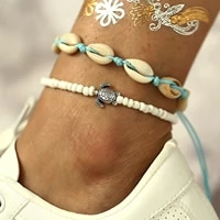 new fashion foot chain anklets creative beach turtle shell beads ankle bracelets for women bohemian jewelry
