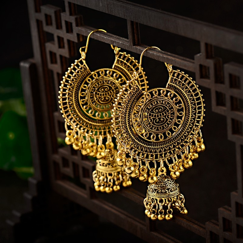 Gold Traditional Indian Ethnic Tassel Dangle Earrings For Women Big Round Gypsy Jhumka Jhumki Earring Statement Drop Earrings