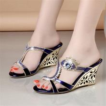 Women Summer Open Toe Lady Wedges Heel Rhinestone Slippers Shoes Plus Size 34-40 Girl Opened Toe Sequin Slipper XMX-A0041