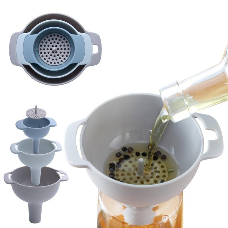 Juego de embudo de lata multifunción 4 en 1 de MOms HAND, embudo de plástico de boca ancha, filtro de olla de aceite, Vierte aceite de líquidos