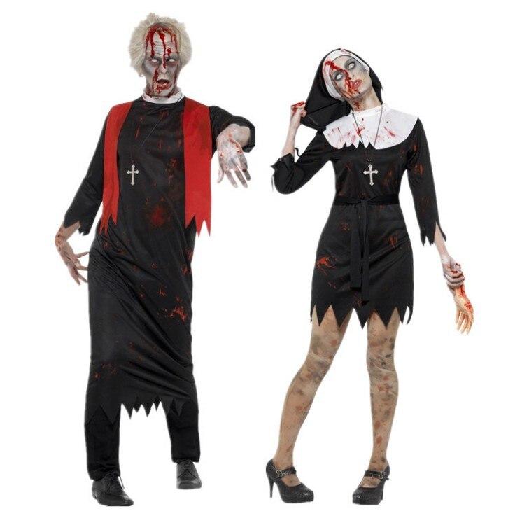 Trajes de monja de sacerdote católico cristiano Horror de Halloween