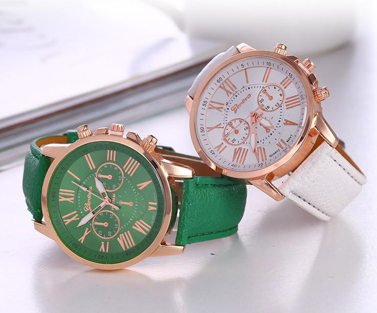 Geneva Women Watch Fake Three-eye PU Leather Belt Fashion Women's Quartz Wrist Watches Relogio Feminino Dropshipping
