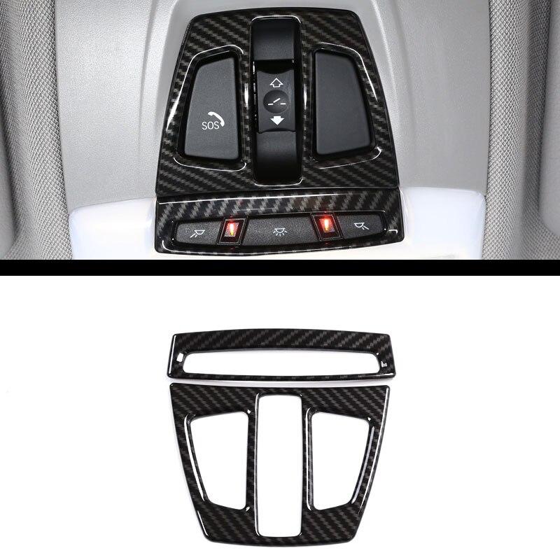 Fibra de carbono para BMW X1 f48 2017X5 f15 X6 f16 3 Series f30 GT f34 Interior del coche de lectura frontal cubierta de luz para BMW X2 F47