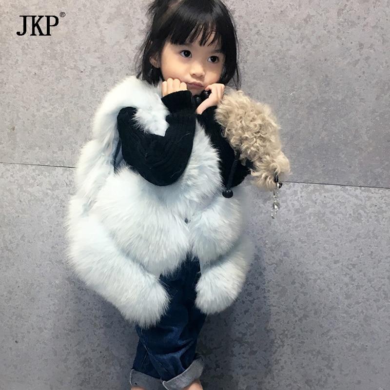 Quality fox fur Vest for girls clothes winter autumn Kids Girl baby Vests Waistcoats Children Outerwear Coats