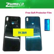 Pour Huawei Y9 2019 JKM-LX1 JKM-LX2 JKM-LX3 Cache Batterie Boîtiers Porte Arrière Arrière Noir Bleu Avec Doux Film Protecteur