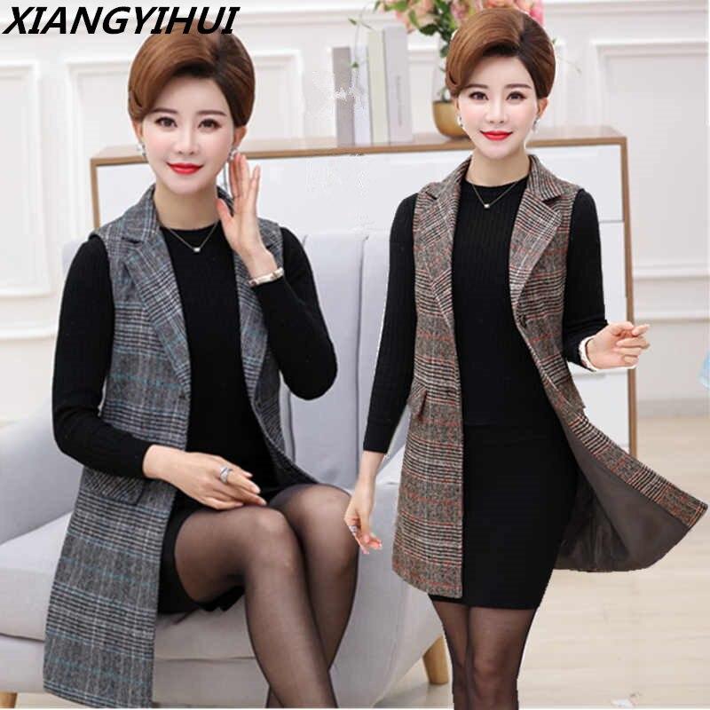 Plus Size 5XL Elegant Fashion Mom's Vest Long Red Women's Sleeveless Jacket Cotton Women's Vest Feminine Coat Long Waistcoat
