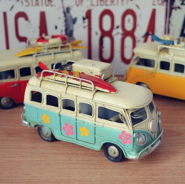 Creative handmade home accessories, wrought iron handicrafts iron retro home furnishing bus classic buses