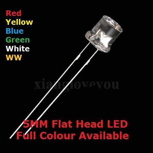 100 Uds 5MM DIP cubierta transparente cabeza plana LED azul cálido Blanco alto brillo F5 rojo amarillo verde calidad cuenta de diodo emisor de luz