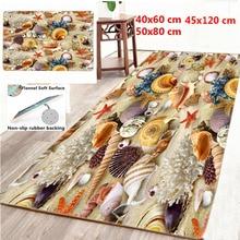 Starfish Seashell Pattern Carpets for Living Room 3D Seaside Non-Slip Kicken Area Rugs Bathroom Floor Mat Room Decoration