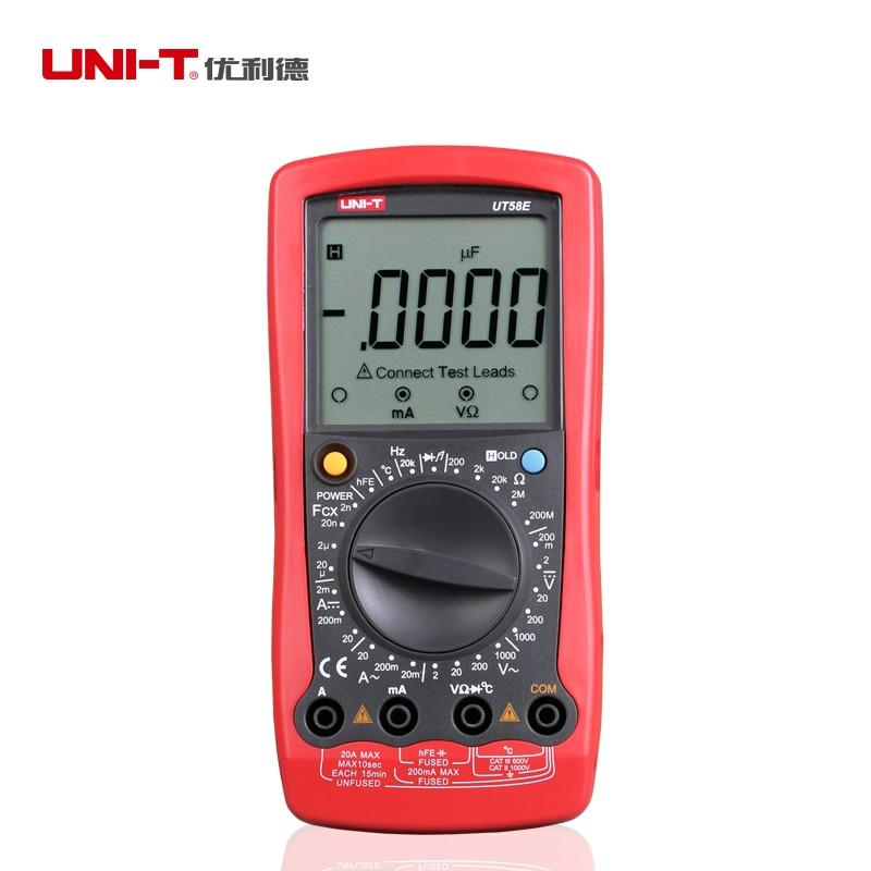 Multímetro Digital UNI T UT58E 20000 recuentos AC DC 20A amperímetro 1000V voltímetro ohmímetro condensador probador de transistores de temperatura