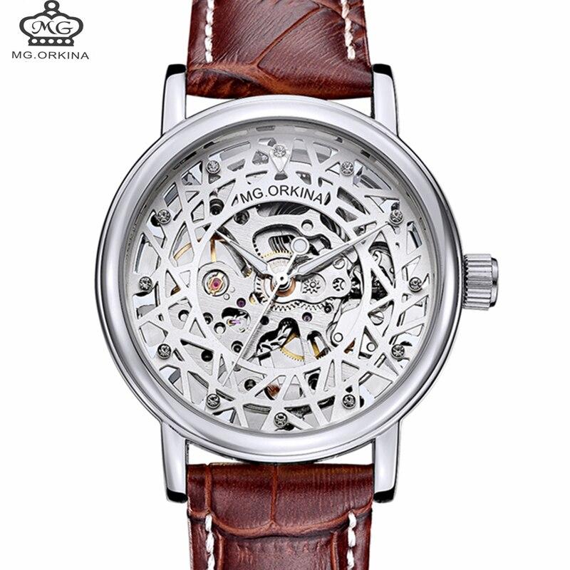 Relojes mecánicos de marca orkina para mujer, relojes de pulsera Con cuerda manual de diamante para mujer, moda 2018, esfera con mecanismo al descubierto, regalo para mujer