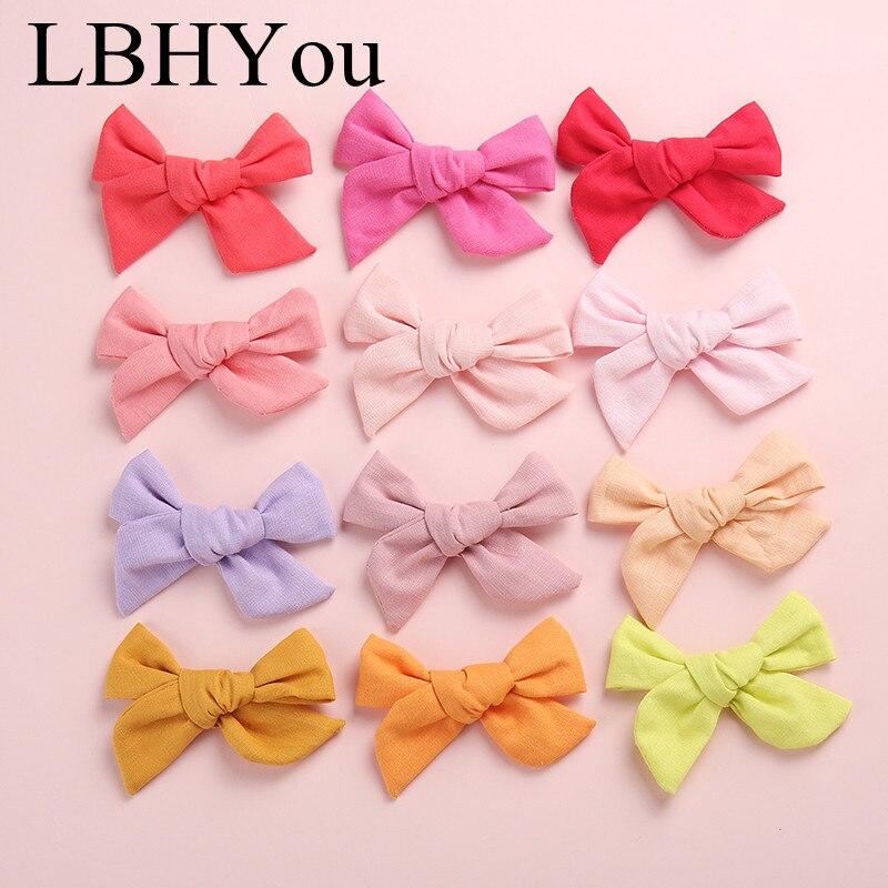 24 Uds lazos de algodón tela pinzas para el cabello para niñas, Escuela niñas Knotbow Soild horquillas, accesorios para el cabello de tela para niños