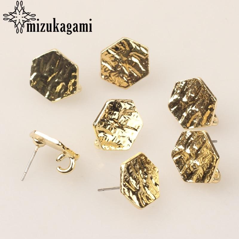 Zinc Alloy Golden Metal Geometric Hexagon Base Earrings Connectors Linkers 6pcs/lot For DIY Earrings Jewelry Accessories