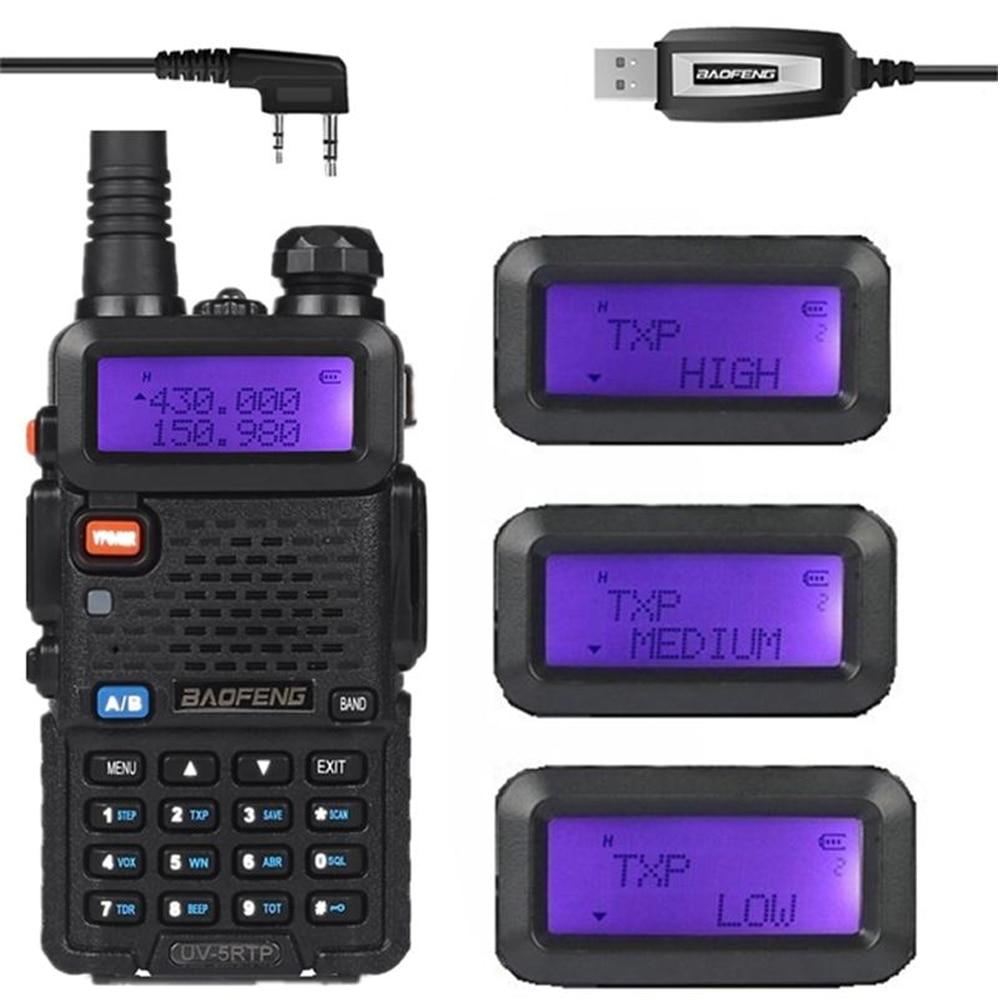 De Baofeng UV-5R TP 136-174/400-520MHz de banda Dual 2M/70cm FM de alta potencia 8W Radio Amateur bidireccional transceptor de Cable de programación UV-5RTP