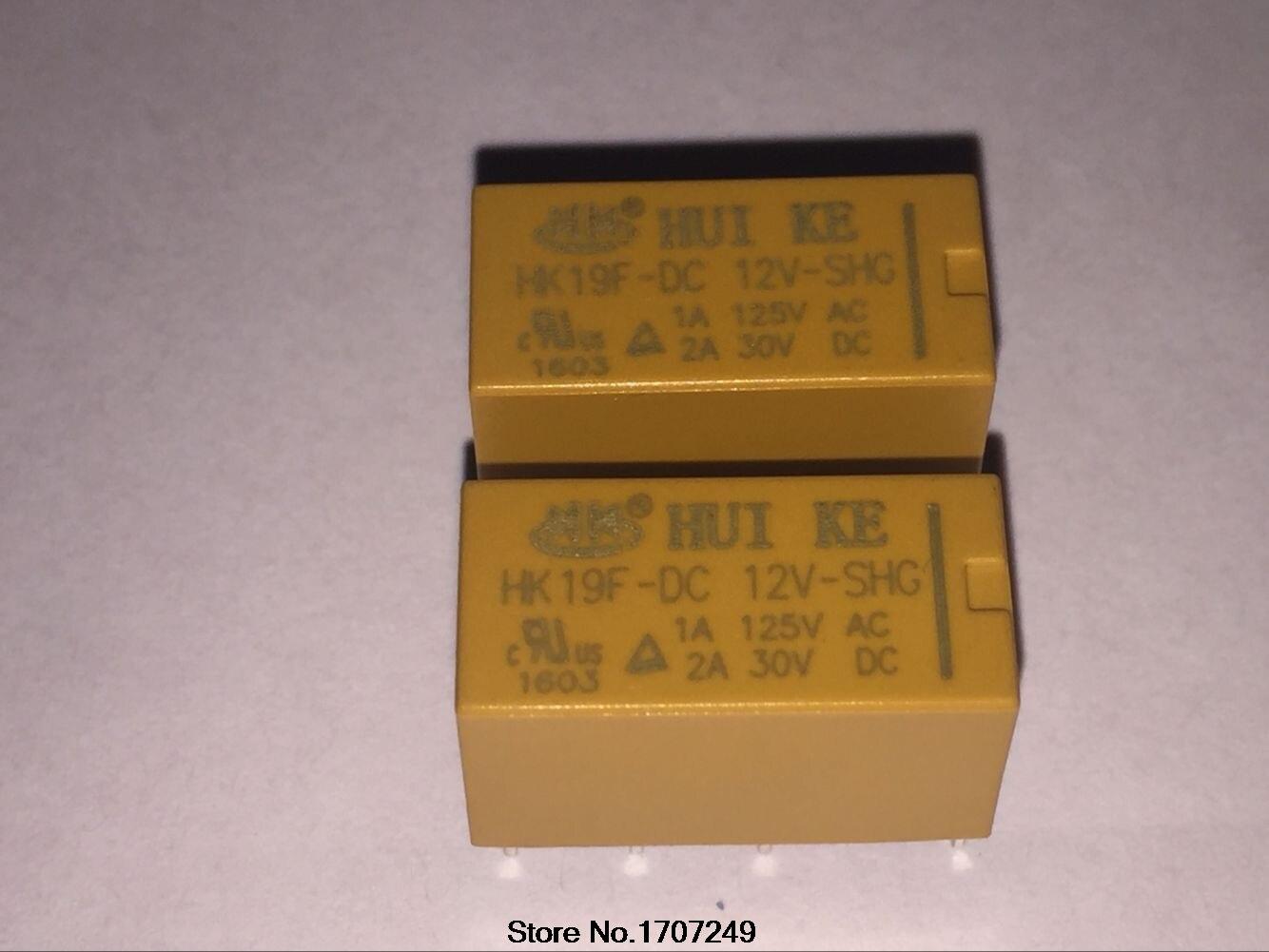 10 Pçs/lote Para DC 12 V Bobina DPDT 8 Pinos 2NO SHG 2NF Mini Relé de Potência PCB Tipo HK19F HUI KE Livre grátis