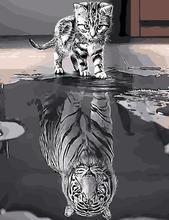 88001 odbicie tygrys kot-farba by Numbers zestawy dla dorosłych DIY