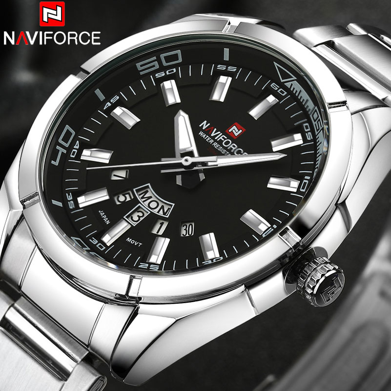 NAVIFORCE Brand Men Watches Business Quartz Watch Men's Stainless Steel Band 30M Waterproof Date Wristwatches Relogio Masculino