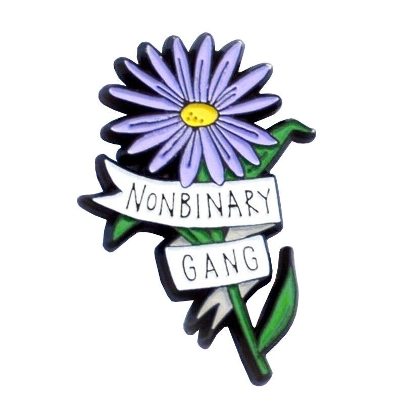 Не бинарные банды, не все банды, женские банды-genderqueer, Цветочная эмалированная шпилька