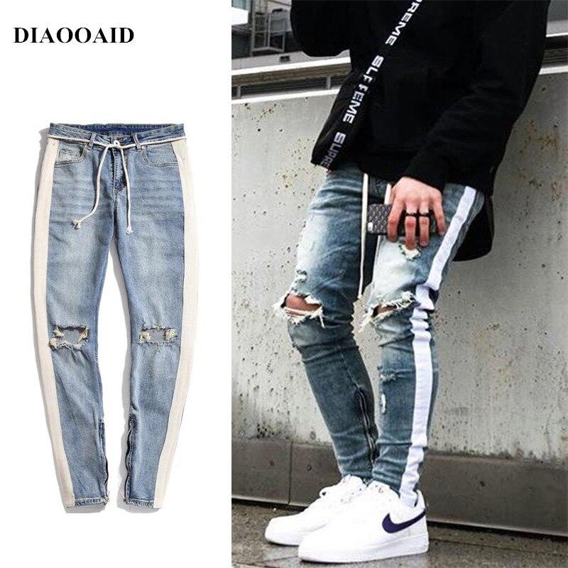 DIAOOAID 2018, ropa nueva con personalidad de hip hop para hombres, vaqueros con cremallera lateral rasgada a la moda, pantalones vaqueros de 2 colores ajustados rotos para hombre