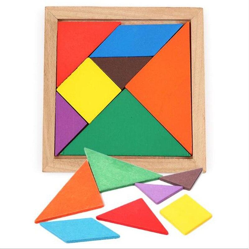 Rompecabezas Tangram de madera de 7 piezas, rompecabezas infantil, juego de inteligencia DIY, juguetes educativos inteligentes para niños