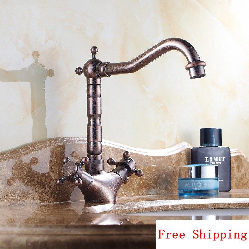 Bacia do banheiro de bronze torneira quente e fria, Óleo Friccionou o Bronze retro banheiro torneira da bacia, cobre antigo torneira da cozinha bacia misturador