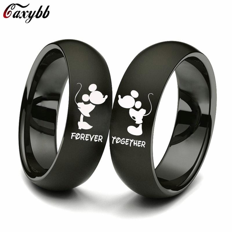 Кольцо для влюбленной пары черного цвета, кольцо из нержавеющей стали для свадьбы, кольцо для женщин и мужчин