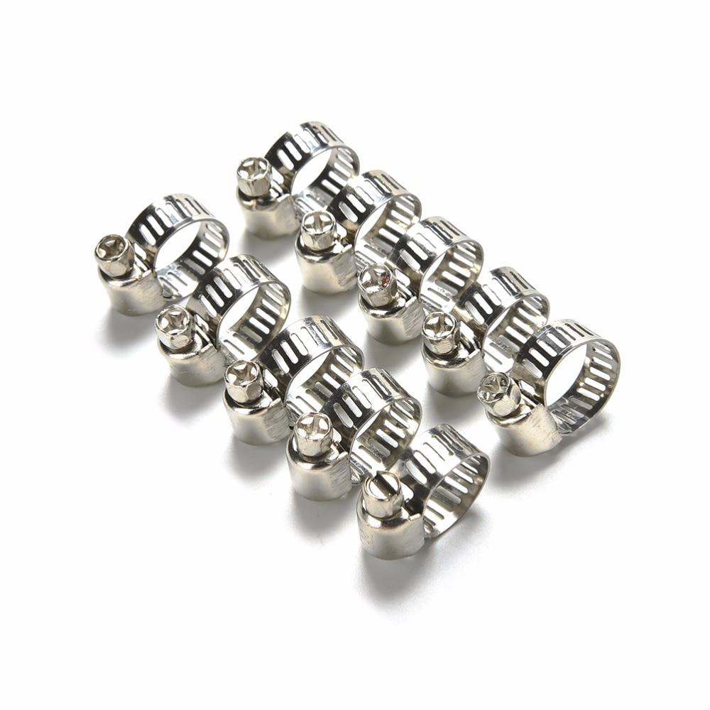 10 unidades de abrazadera de manguera de acero inoxidable Tri Clamp ajustable para tubos de combustible engranaje de tornillo sin fin Clip abrazadera tubo festerner Clip de resorte 8-12mm
