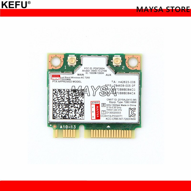 Inalámbrico-AC 7260 7260HMW 802.11AC doble banda BT4.0 PCI-E Mini tarjeta Wifi