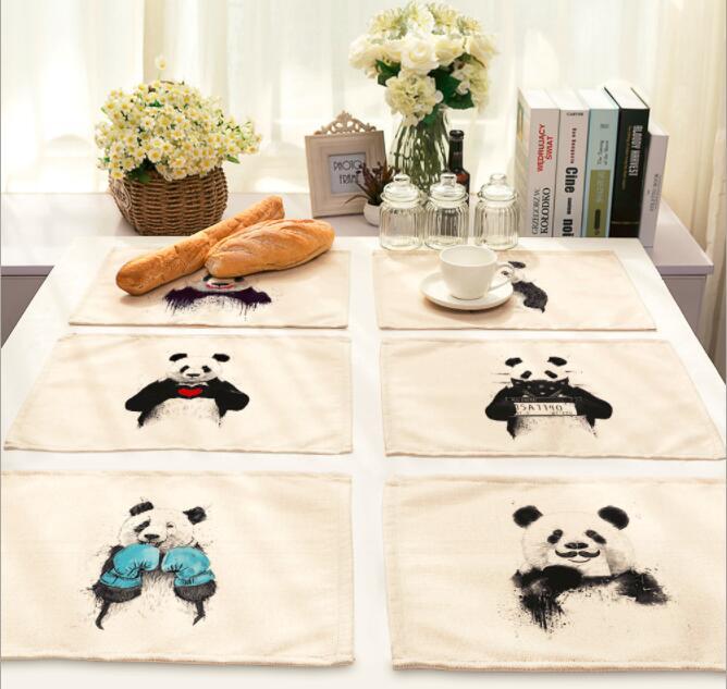 Salvamanteles de lino estampados, salvamanteles de poliéster, oso Panda de China, posavasos, textiles para el hogar, Dec FG886