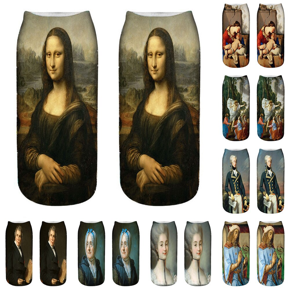 Fashion Oil Character Painting Socks Women's Funny Socks Mona Lisa Van Gogh Ankle Socks Novelty Casual Short Meias Mulheres 5D15