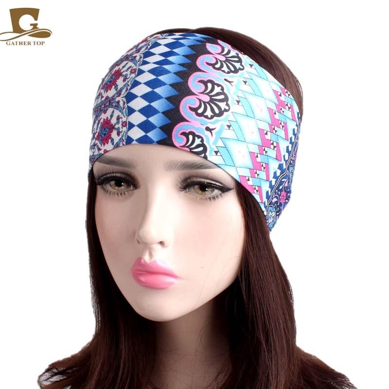 NEW Women Elastic Turban Headband Sport yoga Headbands Ethnic Wide Stretch hair band headwrap elastic lacework wide sport headband