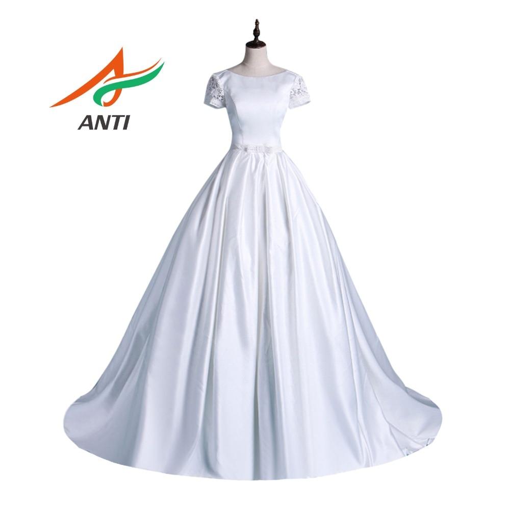 ANTI Elegante A-Line Vestido de Noiva Vestido De Noiva 2019 Branco de manga Curta Lace Vestidos de Noiva Robe De Mariee Com Piso -comprimento