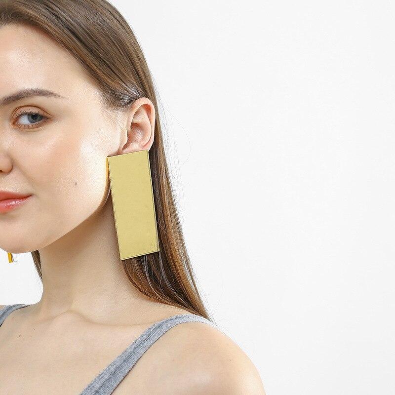 AliExpress - Lucky99 Fashion Rectangle Gold Silvery Mirror Acrylic Stud Earrings For Women Hyperbole Big Statement Earrings Ear Stud E19084
