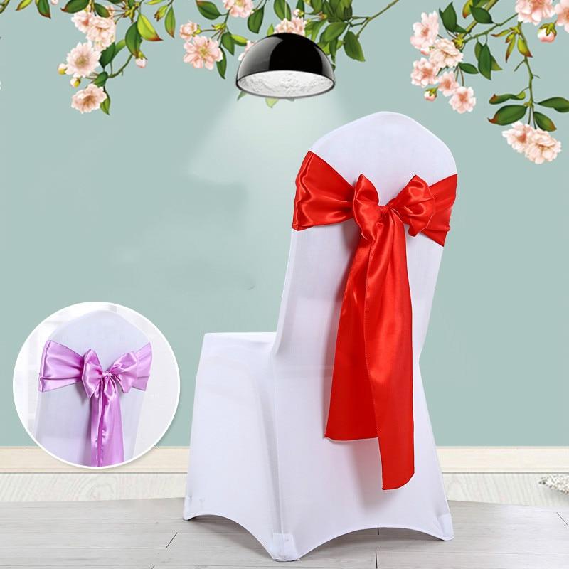 ¡Novedad! Cinta de lazo de satén en colores vivos para asiento de Silla, faja, lazo, cinta, decoración del banquete de boda, suministros para celebración navideña