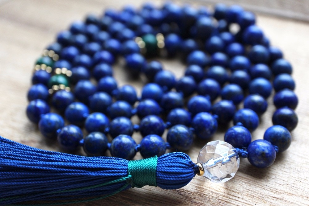 On Sale Hand Knotted Lapis Lazuli Mala Beads 108 Mala Necklace Meditation Jewelry Prayer Necklace Yoga Jewelry Tassel Necklaces
