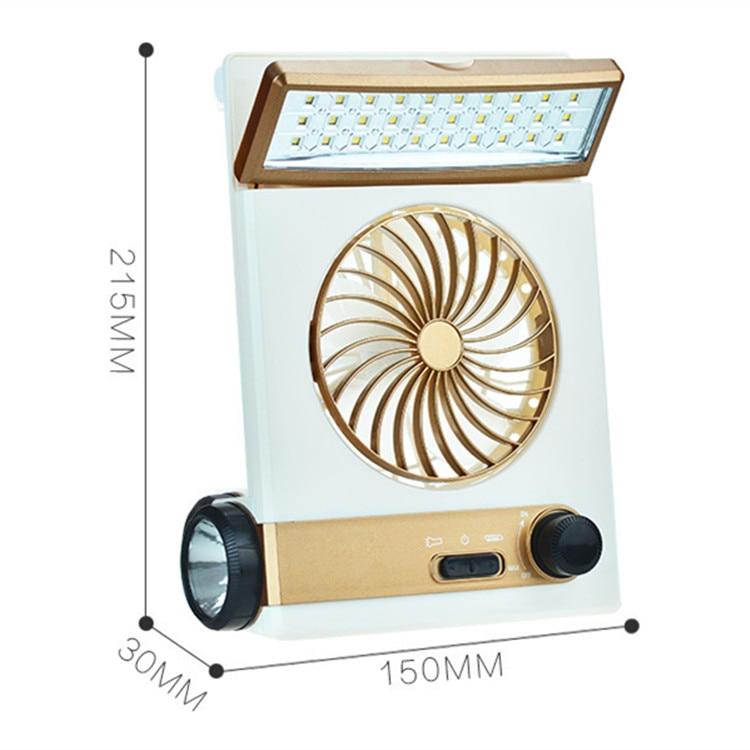 Ventilador de carga eléctrica 4 en 1 portátil solar de 220 V, ventilador recargable con batería de 1200mA, minilinterna LED multifuncional de 5V