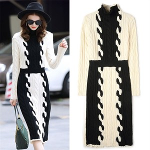 New Autumn Winter Dress Fashion Women Knited Thick Cotton Dress Long Sleeve Stand Neck Warm Sweaters Dresses For Ladies NS102