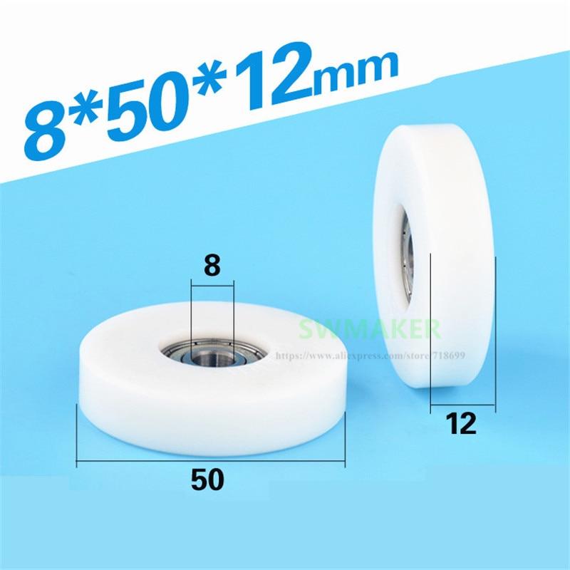 عجلة مسطحة 8*50*12 مللي متر ، قطر 5 سنتيمتر ، بكرة بلاستيكية مطلية ، بوم بوليفورمالديهايد ، 608 محامل مع برغي M6 M8