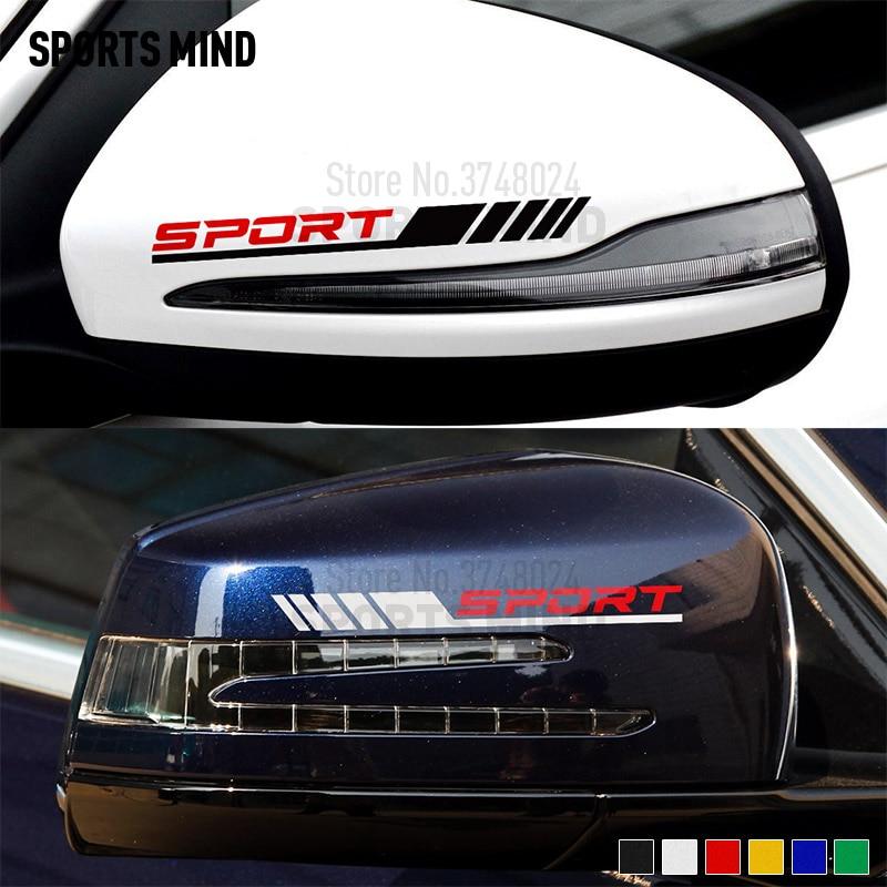 1 paire de style de voiture pour Mercedes Benz AMG Sport W204 W117 W176 W205 C63 A45 CLA45 C117 rétroviseur autocollant de voiture en vinyle