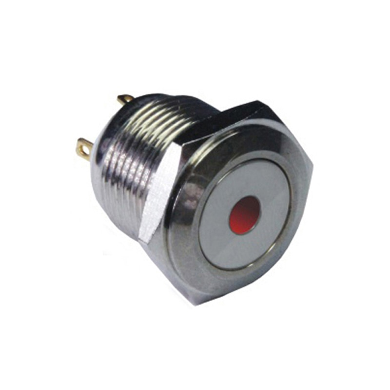 TY 1618 16mm cabeza redonda plana momentáneo pin terminal punto lámpara sellado botón interruptor IB16A-P10Y-D