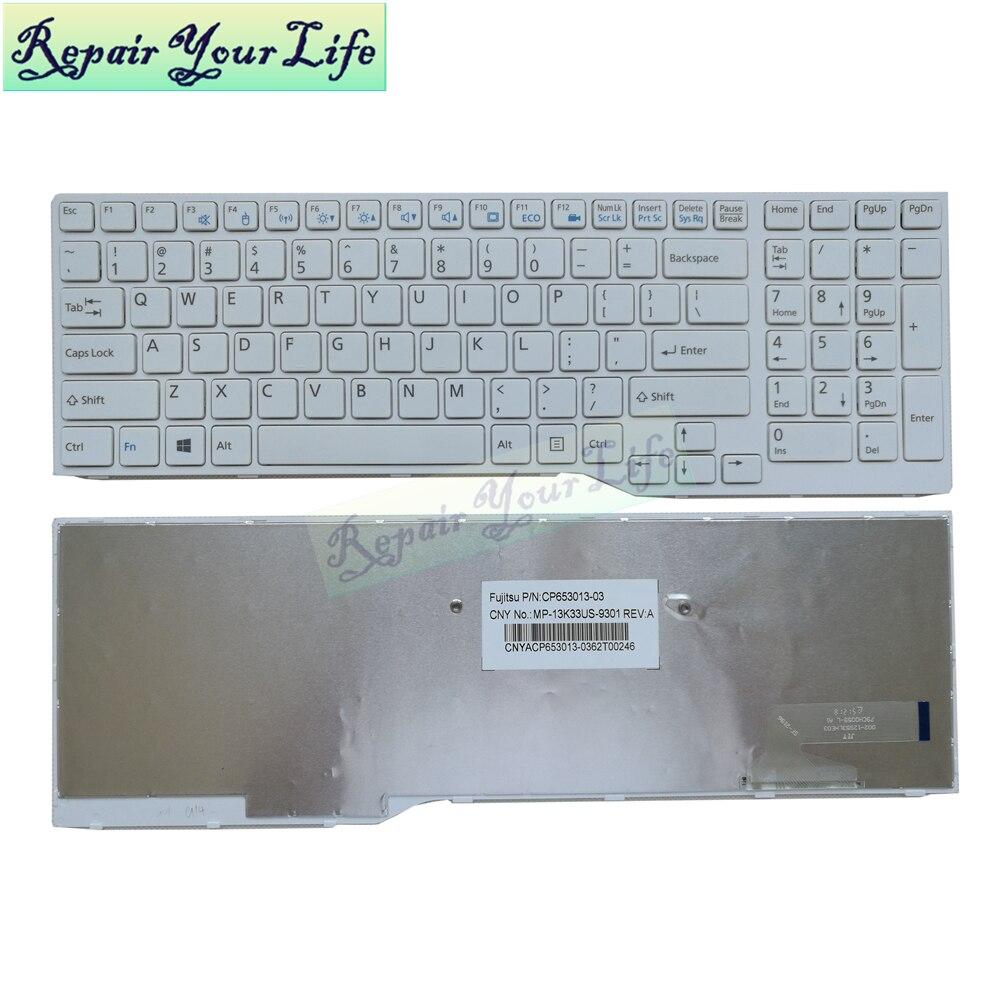 US laptop keyboard for Fujitsu LifeBook AH544 AH564 AH574 AH53M AH42 AH555 English FMVA42SW white MP-13K33US-9301 replacement
