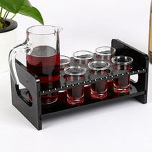 1 Pc 7-Hole Black Acrylic Shot Glass Holder Rack Bar Drinks Serving Tray for Car Home 24 x 12.5 x 10.0 cm