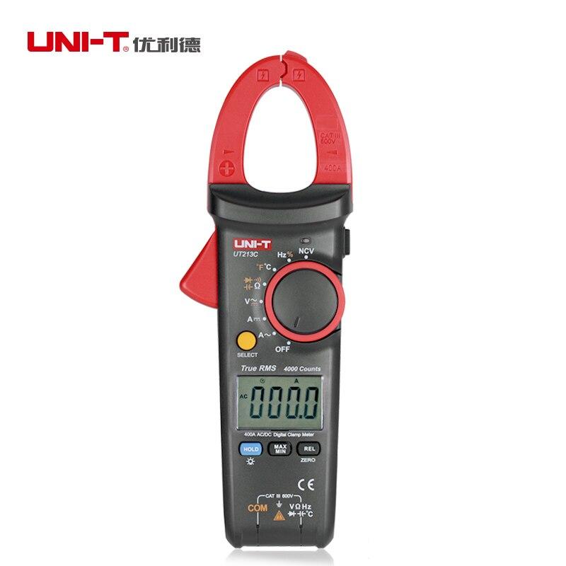 Uni T Ut213c TRUE RMS Digital Clamp auf meter 4000 Zählt 400A AC DC Multimeter Temperatur Kondensator NCV tester Daten halten CE/ETL