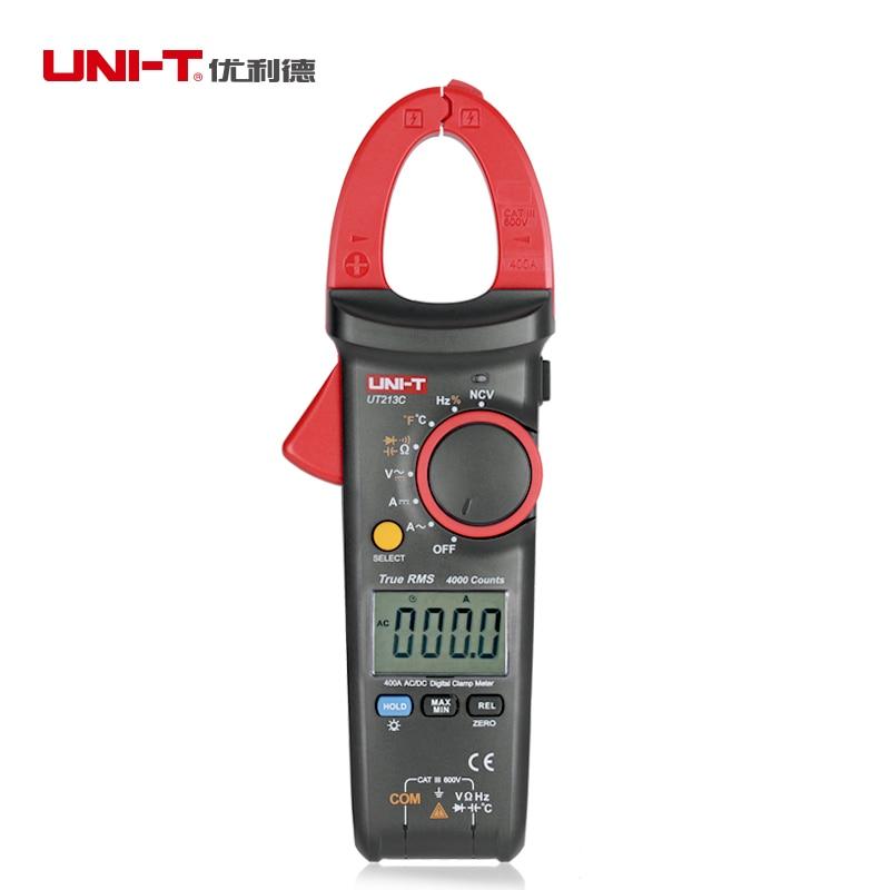 Uni T Ut213c, pinza Digital de valores eficaces auténticos para medidor de 4000 recuentos, multímetro CC de 400A CA, condensador de temperatura, medidor NCV de retención de datos, CE/ETL