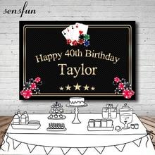 Sensfun Casino Las Vegas Card Party Backgrounds For Photo Studio Black Gold Frame Text Happy 40th Birthday Backdrop 7x5ft Vinyl