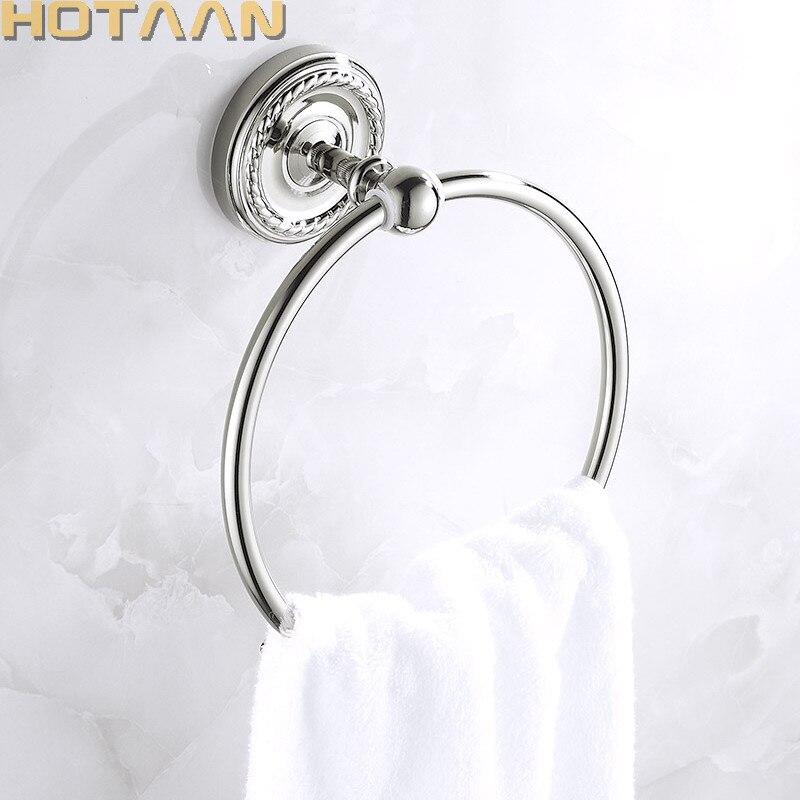 Toallero de baño Color cromo, toallero redondo de latón macizo montado en la pared, toallero de alta calidad, nuevo toallero de cobre, YT-12291
